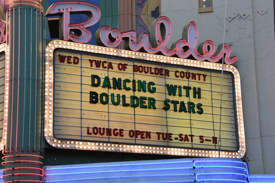"""Boulder Theater sign reading """"Dancing with Boulder Stars"""""""