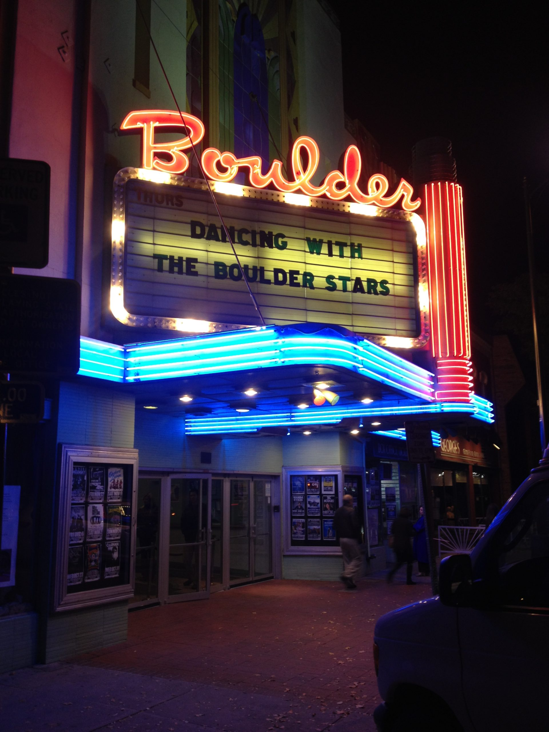 Boulder Theater marquee promoting Dancing with Boulder Stars