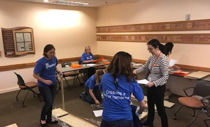 YWCA volunteers working on project