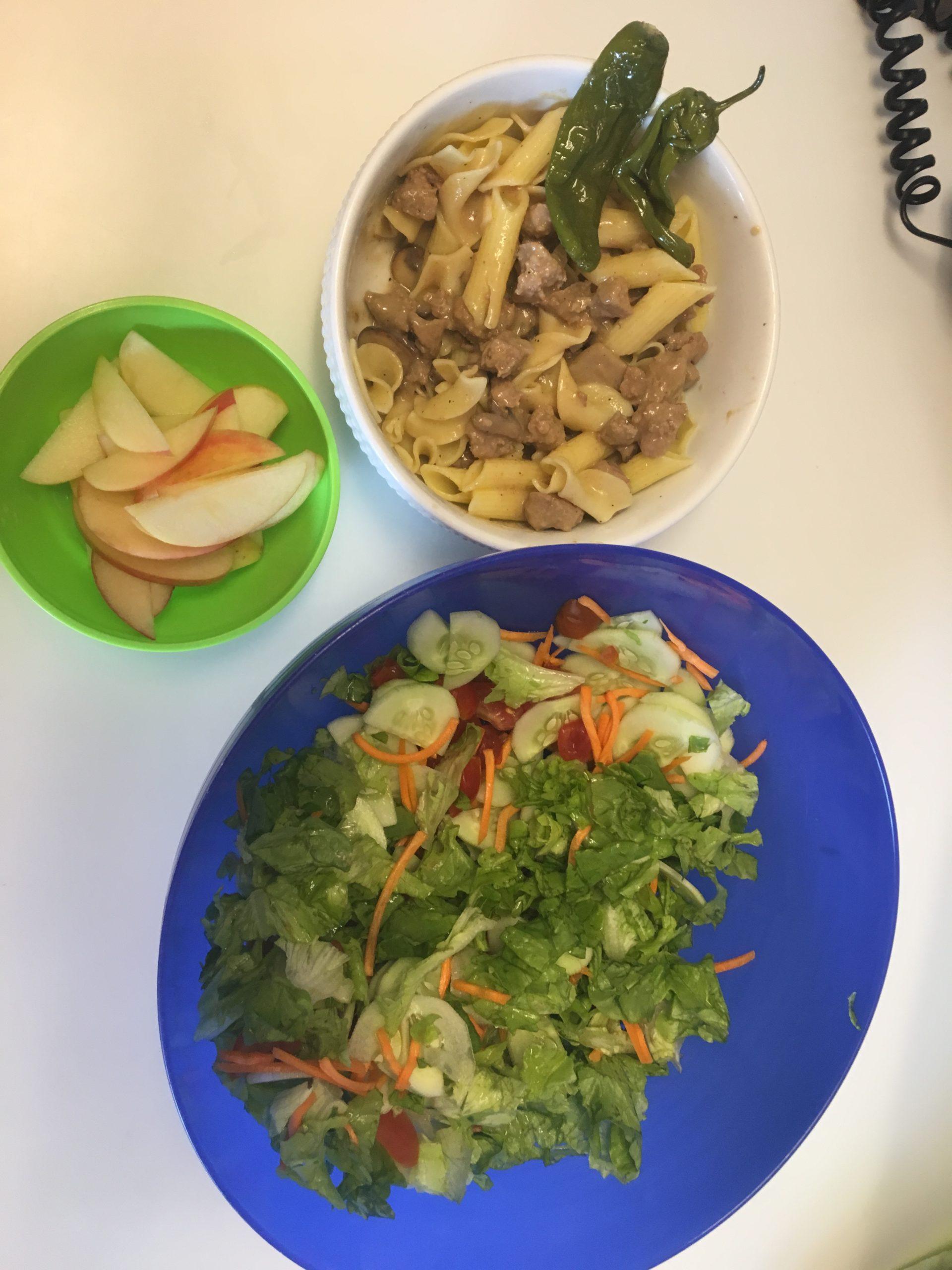 Beef Stroganoff, salad, and apples