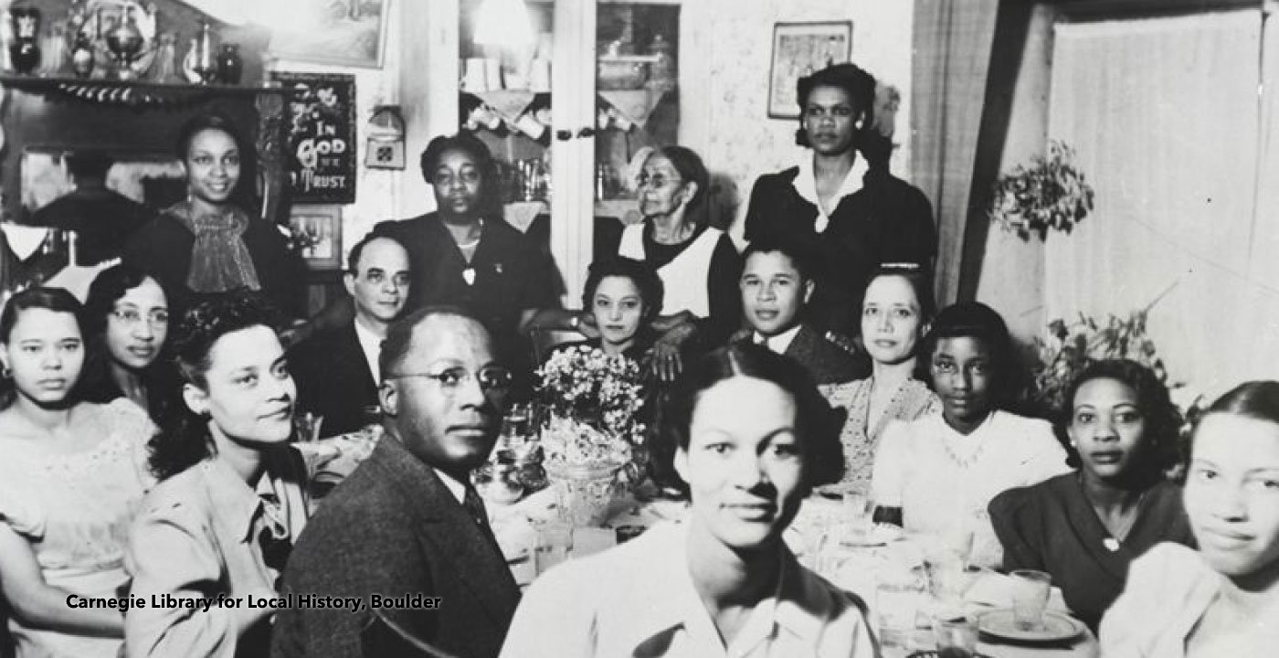 Group of Black families at luncheon