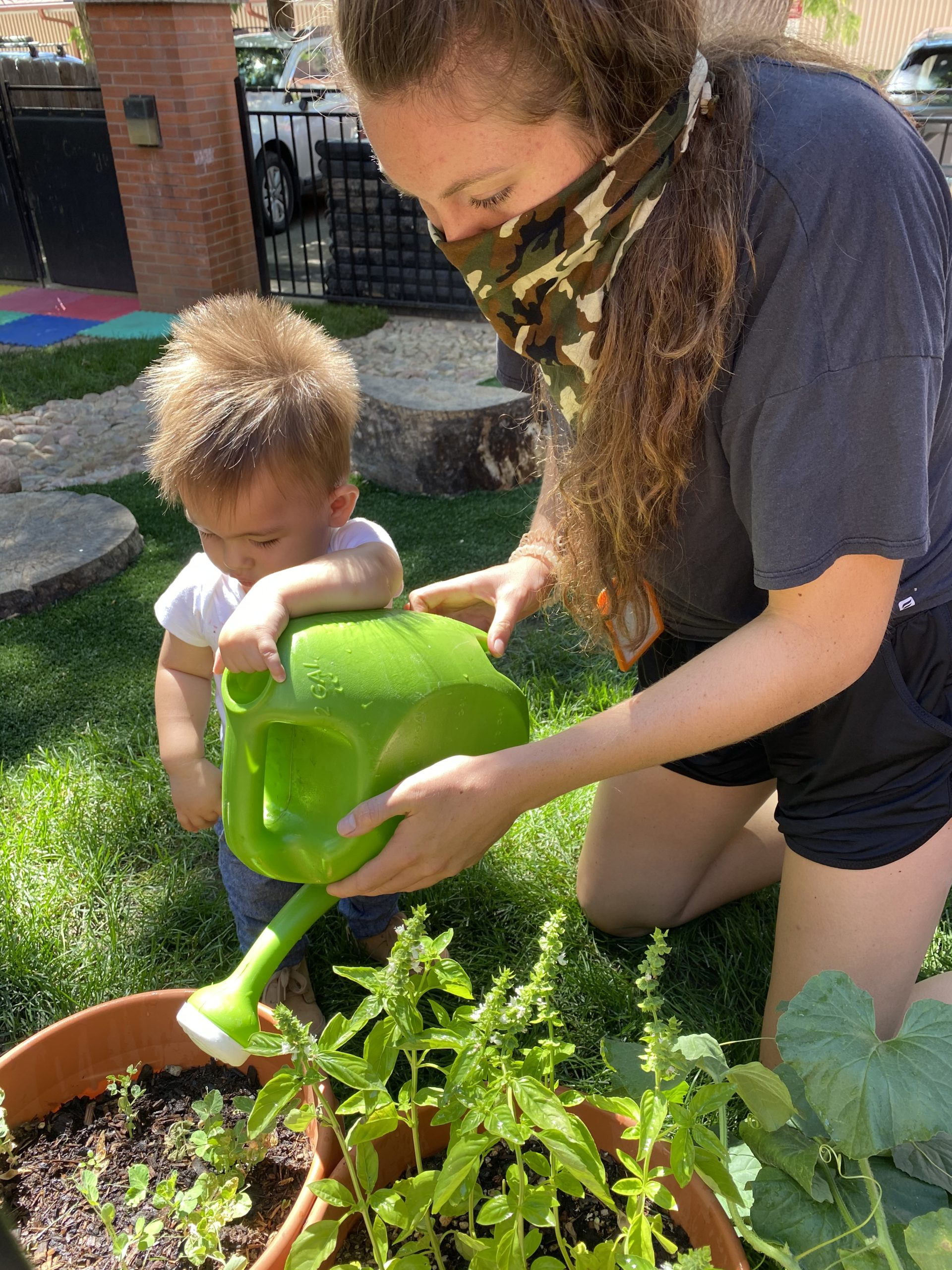 watering plant with kid